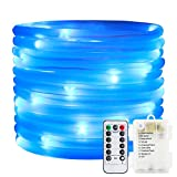 ErChen Remote&Timer Battery Powered Rope Lights,ER CHEN(TM) 16.5FT 50 LED Warterproof Indoor&Outdoor Portable Rope String Lights for Christmas Tree, Wedding, Thanksgiving, Party, Garden, Patio(Blue)