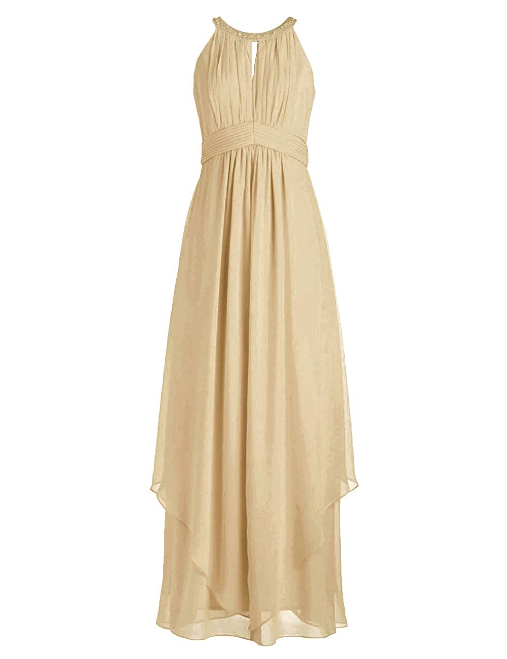 Champagne Bridesmaid Dresses Halter Evening Party Dress Long Bridesmaid Gowns Ruffles