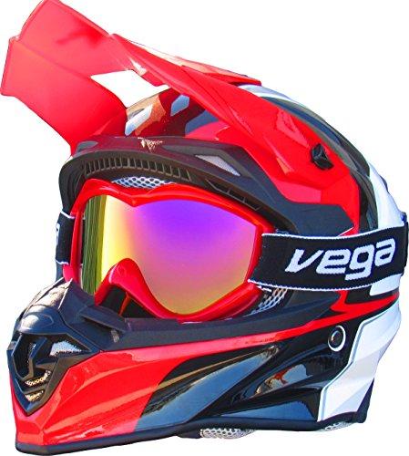 Vega Helmets Dirt Bike Goggles with Optically Correct Lens – Scratch Resistant Motocross Goggles for MX Off Road ATV Quad Enduro Moto Sports Riding Gear (Mirrored Lens Red, One - Vega Sunglasses