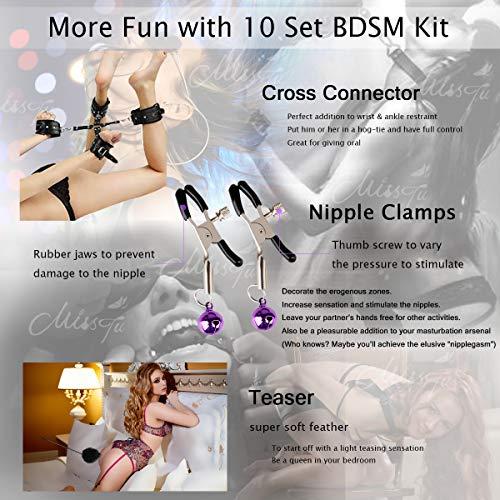 BDSM Restraints Sex Toys Bondage Restraints Set Fetish Bed Restraints Kits for Beginners Light SM Adult Games Safe BDSM Cuffs Nipple Clamps Flogger Ball Gag Blindfold Rope Black Cosplay 10