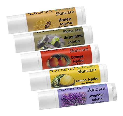 5 pack, Jojoba Oil and Beeswax Lip Balm Sample Pack, mildly scented .15 oz/4.6 gm each, all natural, cold pressed and undeoderized jojoba oil and Lemon, Orange, Lavender Blossoms, Honey and Unscented - Lemon Oil Beeswax
