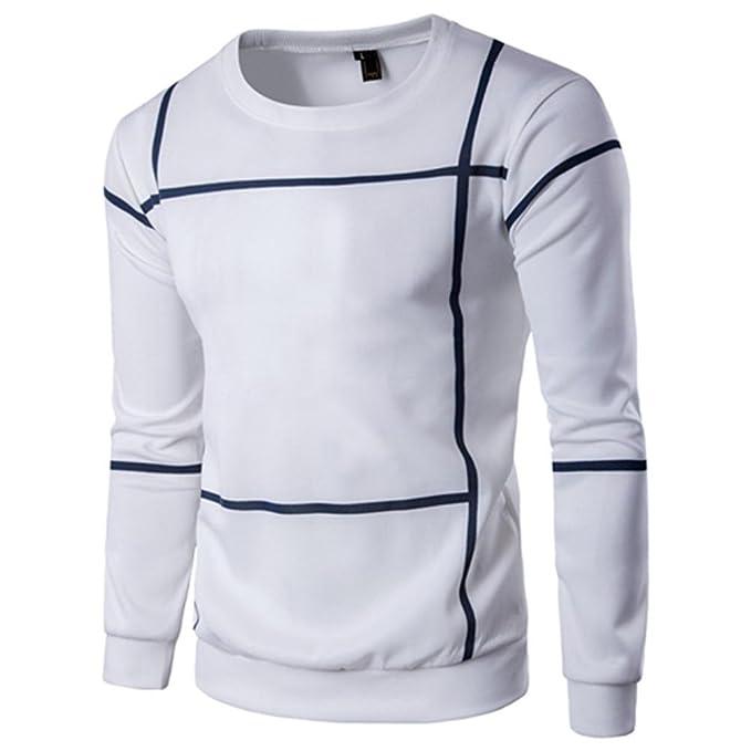 Sudaderas de Hombres, Manadlian Rayas de Moda Hombres de Manga Larga Abrigo Pullover O Cuello suéter Desgastar: Amazon.es: Ropa y accesorios