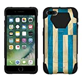 Apple iPhone 7 Plus Hybrid Stand Case Greek Vintage Flag 2 Piece Style Silicone Cover with Stand for Apple iPhone 7 Plus