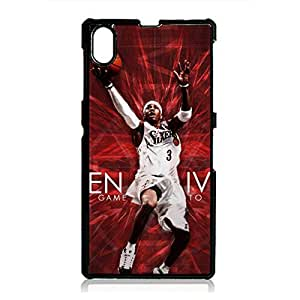 Retro Stylish NBA Allen Iverson Logo Phone Case Cover For Sony Xperia Z1 Black Hard Case AIR35