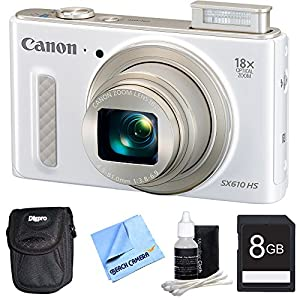 PowerShot SX610 HS 20.2 MP Digital Camera 18x Zoom 3-inch LCD - White 8GB Bundle. Bundle Includes 8GB Secure Digital SD Memory Card, Ultra-Compact Digital Camera Deluxe Carrying Case, 3pc. Lens Cleaning Kit, 1 Piece Micro Fiber Cloth
