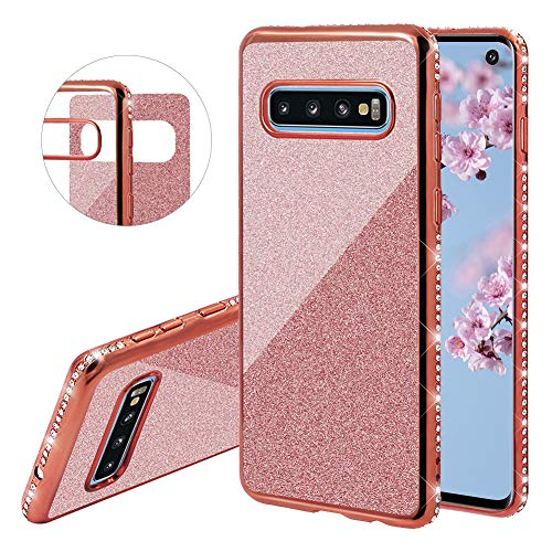 (YiCTe Glitter Case for Galaxy S8 Plus [Not for Samsung Galaxy S8],Luxury Bling Diamond Sparkle Rhinestone Plating Cover Shockproof Crystal Slim TPU Silicone Case for Samsung Galaxy S8 Plus,Rose Gold)