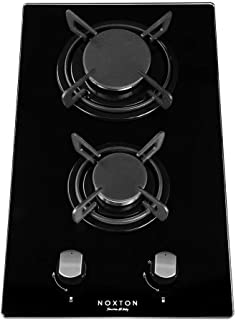 NOXTON 30cm Built-in Domino Gas Cooktop Stove Top 2 Sealed Burners Black Glass Cooker Hob 2 Burners with LPG Kit&FFD
