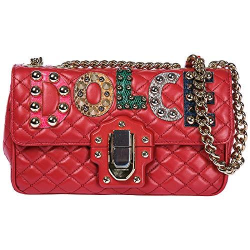- Dolce&Gabbana women's leather shoulder bag original lucia red
