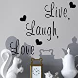 """Zooyoo """" Live, Laugh, Love """" Love Heart DIY Removable Wall Decal for Living Room Bedroom Vinyl Wall Sticker Art Home Decoration"""