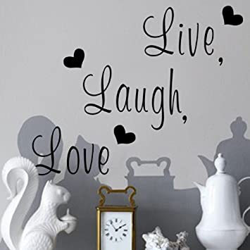 Amazoncom Zooyoo  Live Laugh Love  Love Heart DIY Removable - Wall decals live laugh love