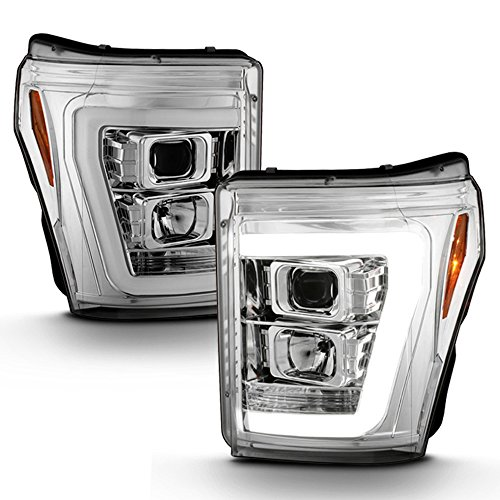 ACANII - For 2011-2016 Ford F250 F350 F450 SuperDuty LED Light Tube DRL Projector Headlights Driver & Passenger Side