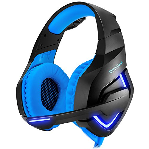 Gaming Headset XBOX One PlayStation 4 PS4 PC Compatible Cool Headphone with LED Light 50mm HIFI Audio Noise Cancelling Microphone Use for Computer Laptop etc (Black&blue) by DIDIFU