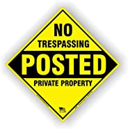 Aluminum No Trespassing Posted Diamond Shaped Signs 4 Pack