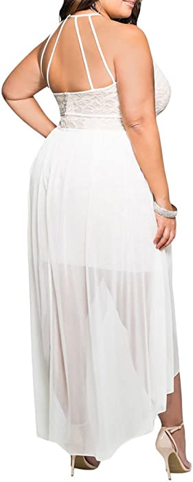 f2453d44f3 8818 - Plus Size Hi Low Lace Overlay Halter Cocktail Wedding Maxi Dress.  8818 - Plus Size Hi Low Lace Overlay Halter Cocktail Wedding Maxi Dress ...