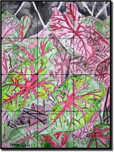 "UPC 810753024389, Caladiums by Derek McCrea - Floral Plant Tumbled Marble Tile Mural 16"" x 12"" Kitchen Shower Backsplash"
