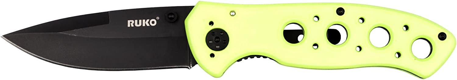 Ruko RUK0075HG 8 Folding Knife, High Visibility Green Handle