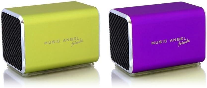 Music Angel Friendz - Altavoz portátil para iPhone, iPad, Dispositivos Samsung, HTC, Blackberry, Sony y Nokia (2 Unidades) Verde Lima/Morado: Amazon.es: Electrónica