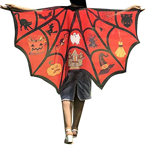 DEATU Halloween Costume, Novelty Pumpkin Print Cape Scarf Halloween Poncho Shawl/Costume Accessory (c-Red)