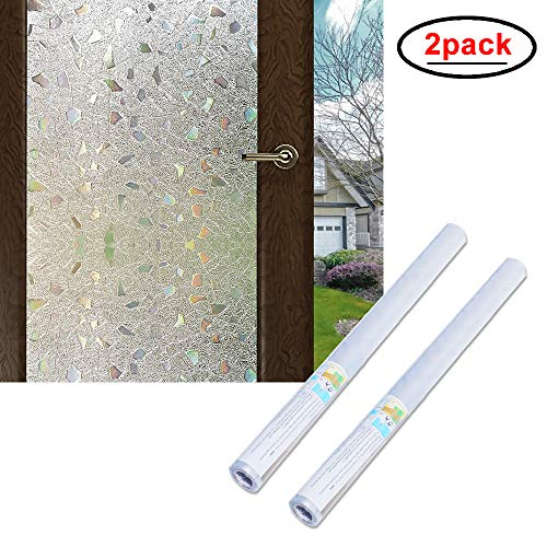 Wopeite 3D Window Film Self-Adhesive 2 Pack Frosted Semi Privacy Static Cling Home Bedroom Bathroom Glass (35.4X 78.7 inches)