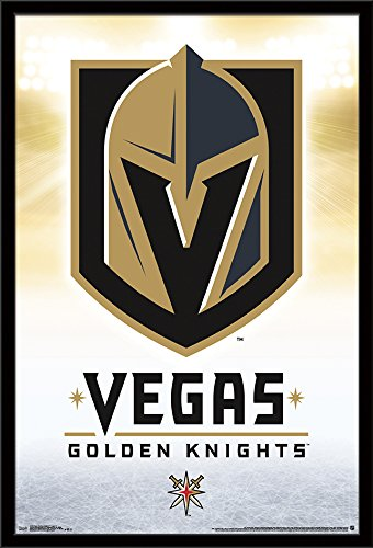 "Trends International Framed Poster Vegas Golden Knights-Logo 17, 24.25"" x 35.75"""