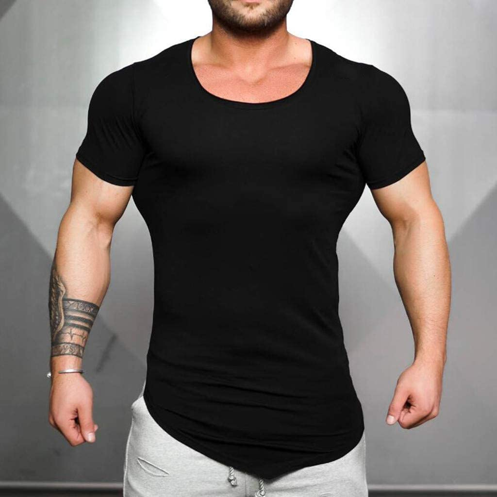 Amazon Com Himtak Fashion T Shirt For Men S Deep Round Neck Irregular Hem Casual Fitness Short Sleeved Sports Wild Top Clothing