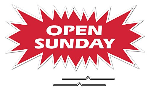 """OPEN SUNDAY Starburst Sign Rider - Red Real Estate Corrugated Sign Kit INCLUDES 2 - 8"""" D-Wire Stakes"""