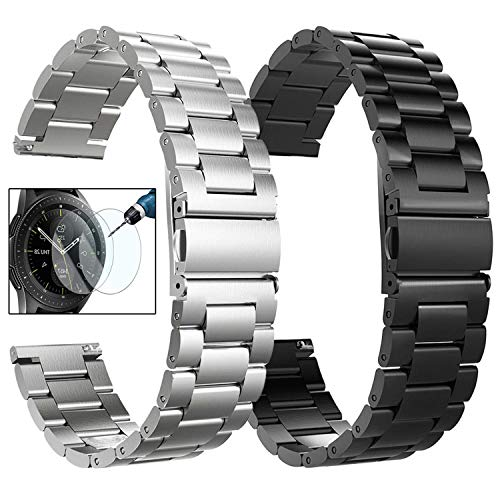 (CAGOS Compatible Galaxy Watch (42mm)/Gear Sport Bands Sets, 2 Pack Solid Stainless Steel Metal Band Bracelet Strap Replacement for Galaxy Watch (42mm) SMR810/SMR815/Ticwatch E Smartwatch(Black+Silver))