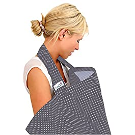 BebeChic.UK * Top Quality Oeko-Tex® Certified 100% Cotton * Breastfeeding Covers * Boned Nursing Tops – Slate Grey/White dot