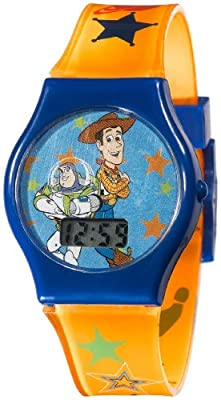 Disney Kids' TY1095 Toy Story Digital Dial Orangle Jelly Strap Watch