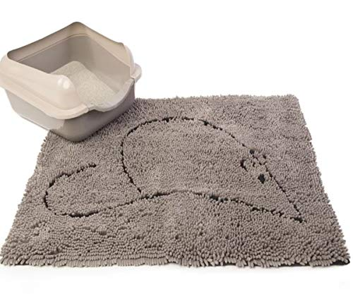 GT Kitty Litter Mat Trapper Gray Cat Trapping Cat Dirt Paws Sand Catcher Washable Corner Small Box Pad Carpet & Ebook by Easy 2 Find