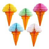 Party Hanging Ice Cream Tissue Paper Honeycomb Ball Wedding Birthday Decoration Set of 5 mix