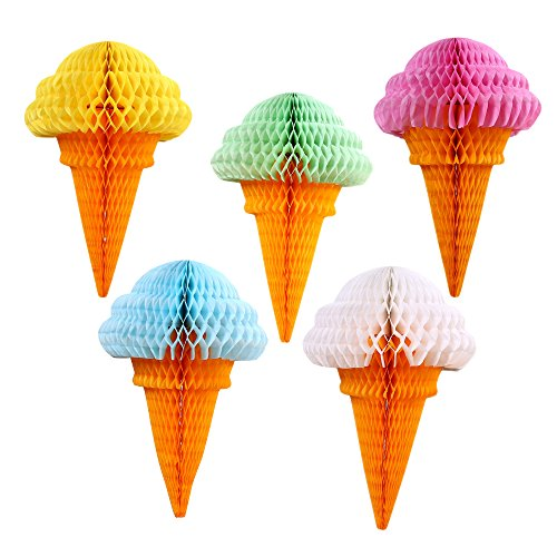 Party Hanging Ice Cream Tissue Paper Honeycomb Ball Wedding Birthday Decoration Set of 5 mix - Birthday Party Honeycomb