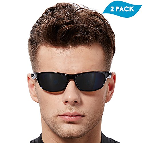 EVERSPORT 2 PACK Polarized Cycling Sports Sunglasses Men Women Unisex Driving Sunglasses for Fishing Golf Baseball Running Bike Outdoors Sun Glasses Eyewear Unbreakable Frame TR90 - Golf Eyewear