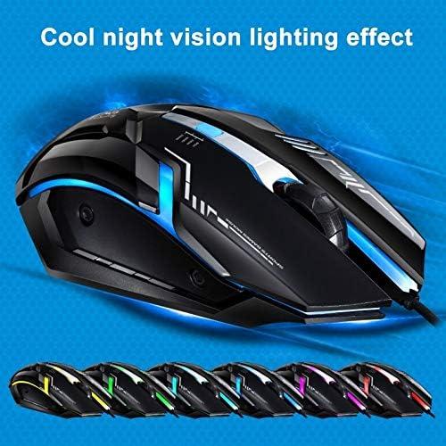Length: 1.45m Color : Jet Black Mice Black DDETAO V17 USB 2400DPI Four-Speed Adjustable Line Pattern Wired Optical Gaming Mouse with LED Breathing Light