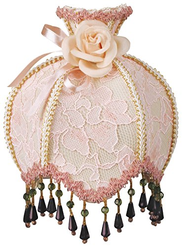 Royal Designs NL-106 Beaded Pink Victorian Nightlight Designer Brocade Fabric Off-White and Pink Trims, Pink Round