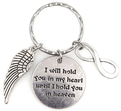 I Will Hold You in My Heart Until I Hold You in Heaven Angel Wing Infinity Forever Keychain 115K