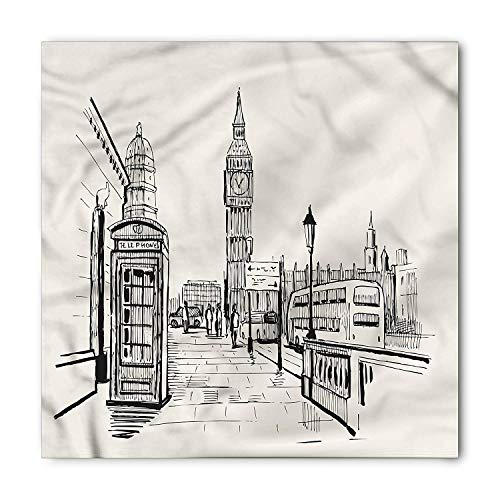 Modern Bandana, London City Big Ben Monument, Unisex Head and Neck Tie,39.339.3inch