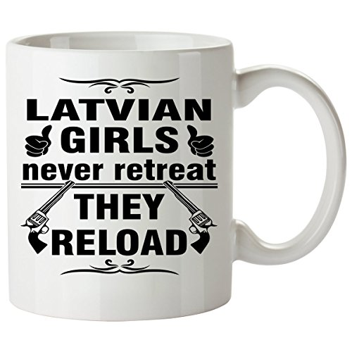 LATVIAN Coffee Mug 11 Oz - Good Gifts for Girls - Unique Coffee Cup - Decor Decal Souvenirs Memorabilia - Latvian Folk Costumes