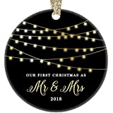 "First Christmas as Mr & Mrs Ornament 2018, 1st Married Christmas Ornament, First Married Christmas, 3"" Flat Circle Porcelain Ornament w Glossy Glaze, Gold Ribbon & Free Gift Box 