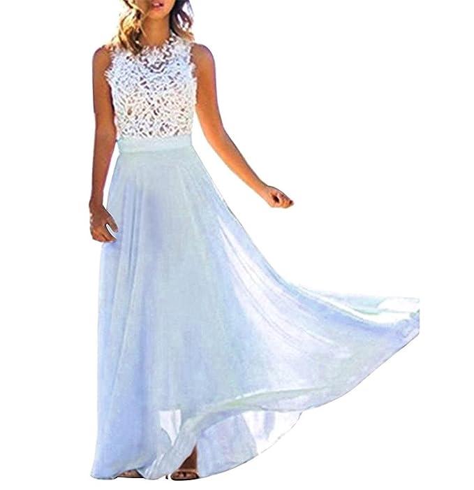 bc1d30269a5a Minetom Estate Donna Vestito Lungo Elegante Senza Maniche Pizzo Chiffon  Vestiti da Sera Vestito da Partito Spiaggia  Amazon.it  Abbigliamento