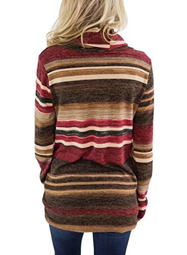 Asvivid Womens Cowl Neck Color Block Striped Tunic Sweatshirt Drawstring Cotton Pullover Tops Pocket S Red by Asvivid (Image #2)