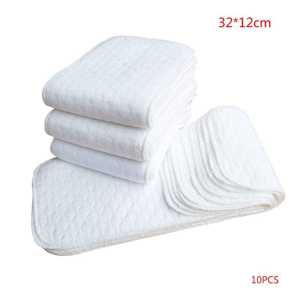 MUANI 10PCS réutilisable bébé en Tissu Lavable Diapers Changer la Couche Inserts 1 pièce 3 Couches Insert 100% Coton Baby Care Products