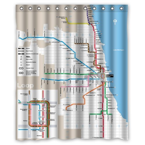 Amazon Lovingin Classic Chicago Subway Map Pattern Decor 100 Polyester Shower Curtain 60 Wide X 72 Long Clothing