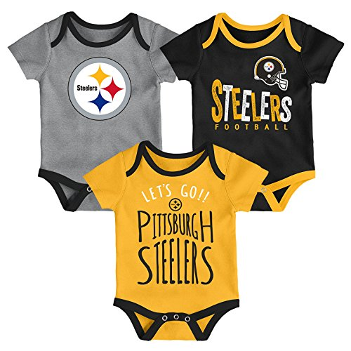 Outerstuff NFL NFL Pittsburgh Steelers Newborn & Infant Little Tailgater Short Sleeve Bodysuit Set Black, 24 Months]()