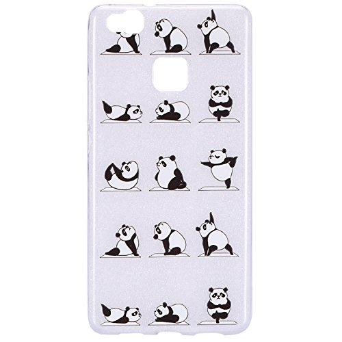 Funda Huawei P9 Lite,SainCat Moda Alta Calidad suave de Relieve Pintura TPU Silicona Suave Funda Carcasa Barniz TPU Silicona Flexible de Ultra Delgado Ligero Goma Case Cover Caja Suave Gel Shock Absor Panda yoga
