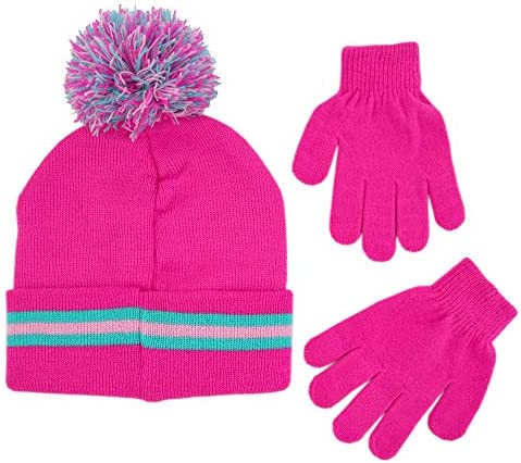 Age 4-7 Shopkins Girls Little Assorted Character Beanie Hat and Gloves Cold Weather Set pink