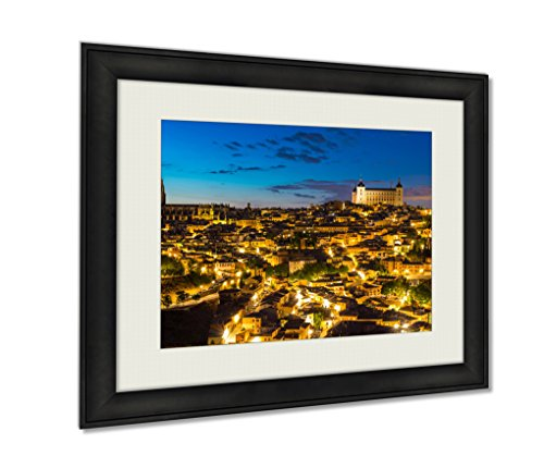 Ashley Framed Prints Toledo At Dusk In Spain Artwork Decoration Photo Print Wood Frame with Matte, kitchen living room bedroom 20x25 art by Ashley Framed Prints