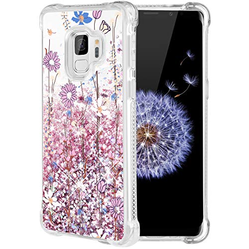 Caka Galaxy S9 Case, Galaxy S9 Floral Glitter Case Flower Pattern Series Luxury Fashion Bling Flowing Liquid Floating Sparkle Glitter Soft TPU Case for Samsung Galaxy S9 (Pink Flower) -