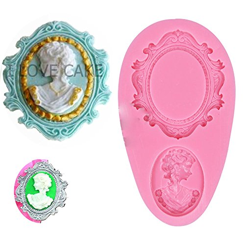 Cameo Moulds - Anyana Vintage Queen victorian Picture oval cameo silicone Frame Photo mirror mould cake Fondant gum paste mold for Sugar paste wedding party cupcake decorating topper decoration sugarcraft pastry