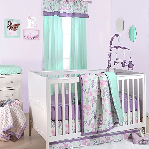 Pink and Purple Floral and Mint Dot 4 Piece Crib Bedding by The Peanut - Mobile Dot
